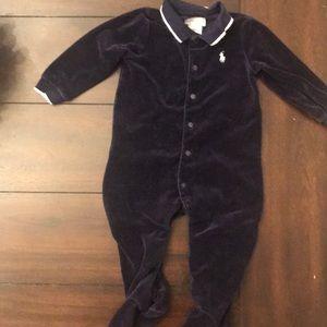 Navy Ralph Lauren velvet footie one piece outfit